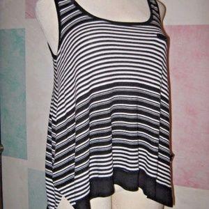 Black White Stripe High Low Side Slit Tank Top L